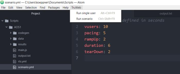 TruWeb - Run Scenario - Atom.io